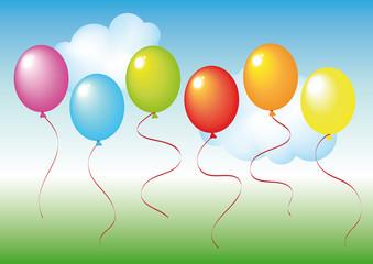 set di palloncini su sfondo sfumato