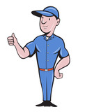 Repairman tradesman worker thumbs up poster