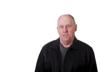 Older Balding Guy Smiling in Black Leather Jacket