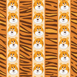 African seamless patterns with cute tiger and tiger skin.