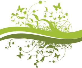 Galhos, folhas e borboletas