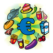 Consommation, achat, shopping, commerce, euro, aliment