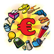 Consommation, achat, shopping, commerce, euro, objets