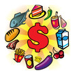 Consommation, achat, shopping, commerce, dollar, aliment