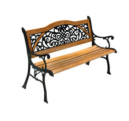 High quality stylish park wooden and cast-iron bench isolated ov