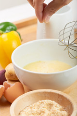 raw ingredients to make an omelet
