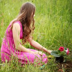 girl grow flower