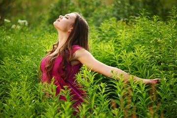 woman on green grass field
