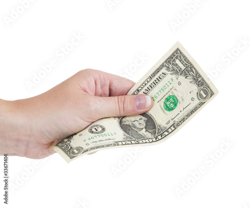Hand holding money dollar isolated on white background