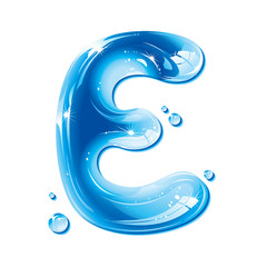 Water Liquid Letter - Capital E