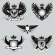 Set of heraldry winged shield