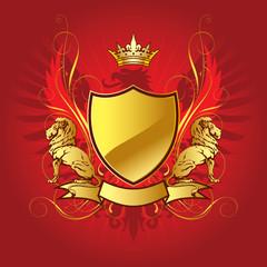 Gold heraldry shield