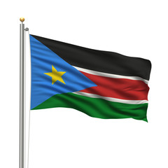 Flag of South Sudan over white background