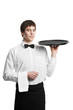 Waiter sommelier man with tray
