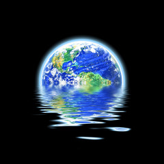 Global Warming Flooded Earth Illustration