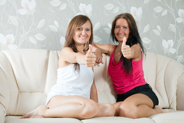 happy mid adult women  showing thumb up