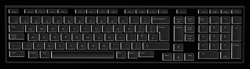 Computer keyboard in black and grey