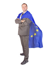 man with the flag of the European Union....