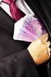 Manager mit vielen 500 Eurogeld Scheinen