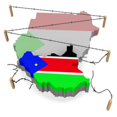 Flag and map of Southern Sudan. The wire fencing is broken off.