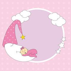 Marco niña durmiendo encima de la luna