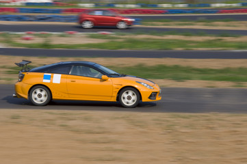 Fast car in a race