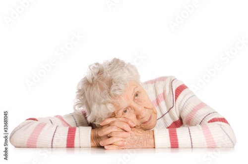 Portrait of old woman isolated