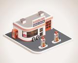 Fototapety Vector roadside gas station XXL icon