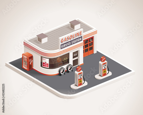 Vector roadside gas station XXL icon