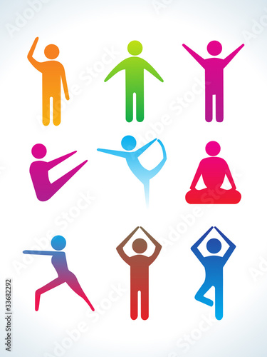 abnstract colorful yoga people icon