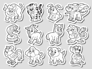 Black and White Vector Signs of Chinese Zodiak