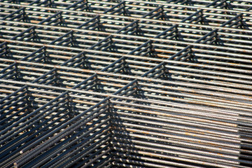 Stacked reinforcing grids in the construction site