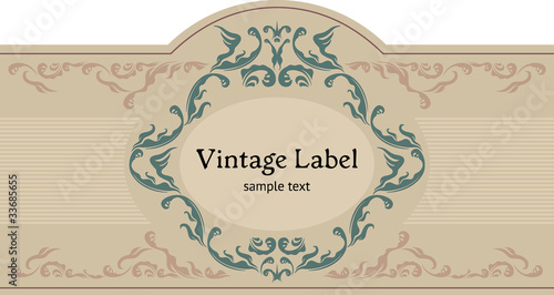 Vintage ornamental label. Datura font by Jesus Martinez Partida.