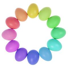Twelve easter eggs in circle