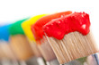 Leinwanddruck Bild - Pinceaux peintures multicolores