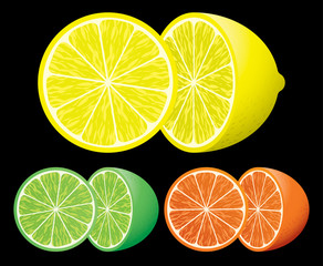 Lemon, lime and orange