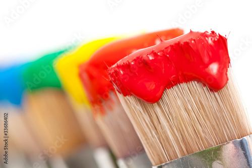 Leinwanddruck Bild Pinceaux peintures multicolores