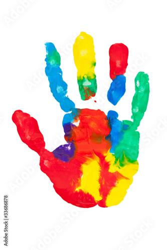 Empreinte de main multicolore