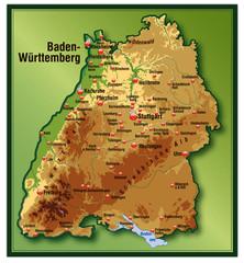 Baden-Württemberg mit Höhenschichten