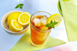 cold glass of iced tea with lemon and mint
