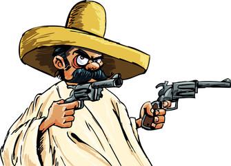 Cartoon Mexican with guns
