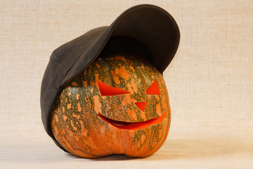 The cheerful halloween pumpkin from canvas background
