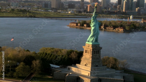 Aerial view of the Statue of Liberty, NY, USA
