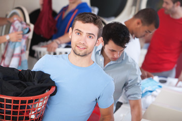 Blue-Eyed Man In Laundromat