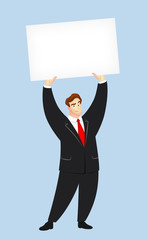 Man Holding Up Blank Card