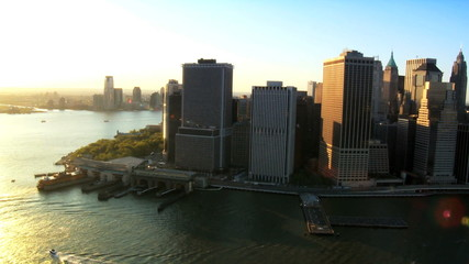 Aerial of Downtown Manhattan Skyline at Sunset, NY, USA
