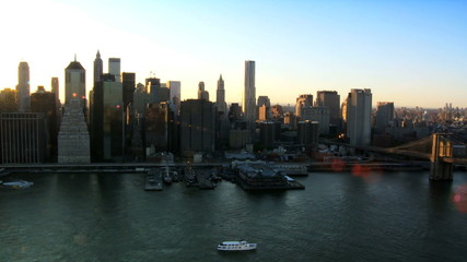 Aerial view of the Setting Sun over Manhattan, NY, USA