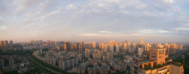 Cityscape in sunset sunshine