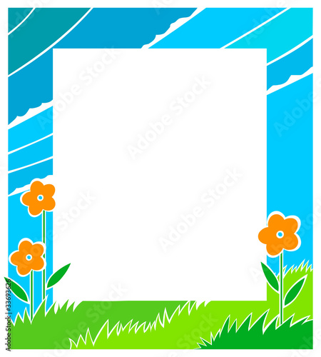 Bright landscape colourful frame for messages and photographs
