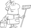 Outlined Cleaning Lady Cartoon Character